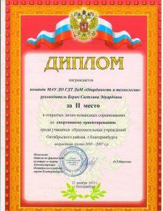 Диплом 06 клуб Тропа Екатеринбург